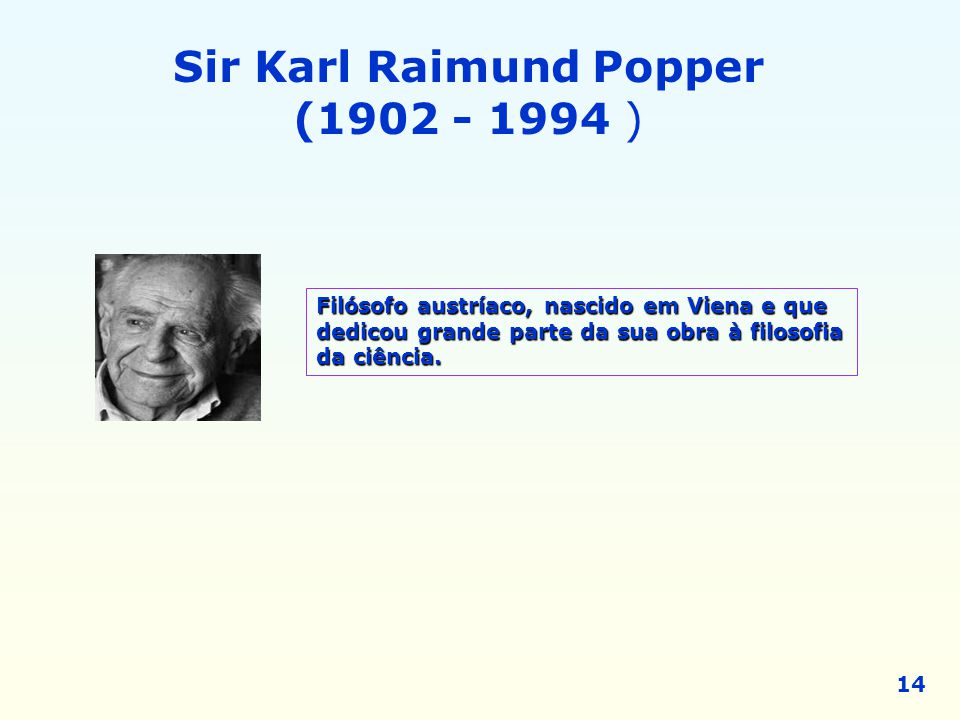 Sir Karl Raimund Popper (1902 - 1994 )