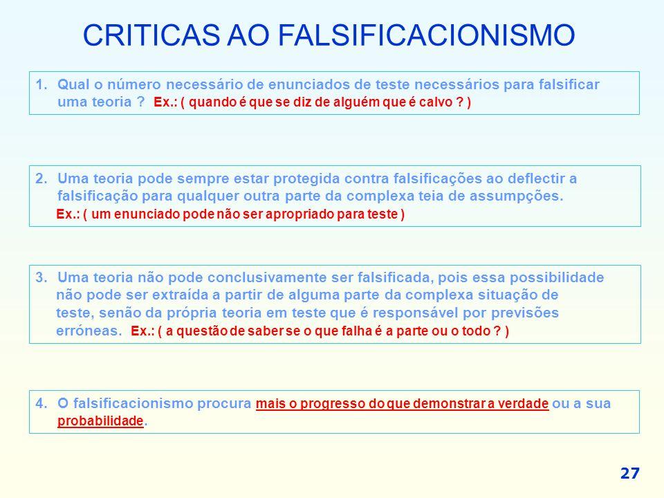 CRITICAS AO FALSIFICACIONISMO