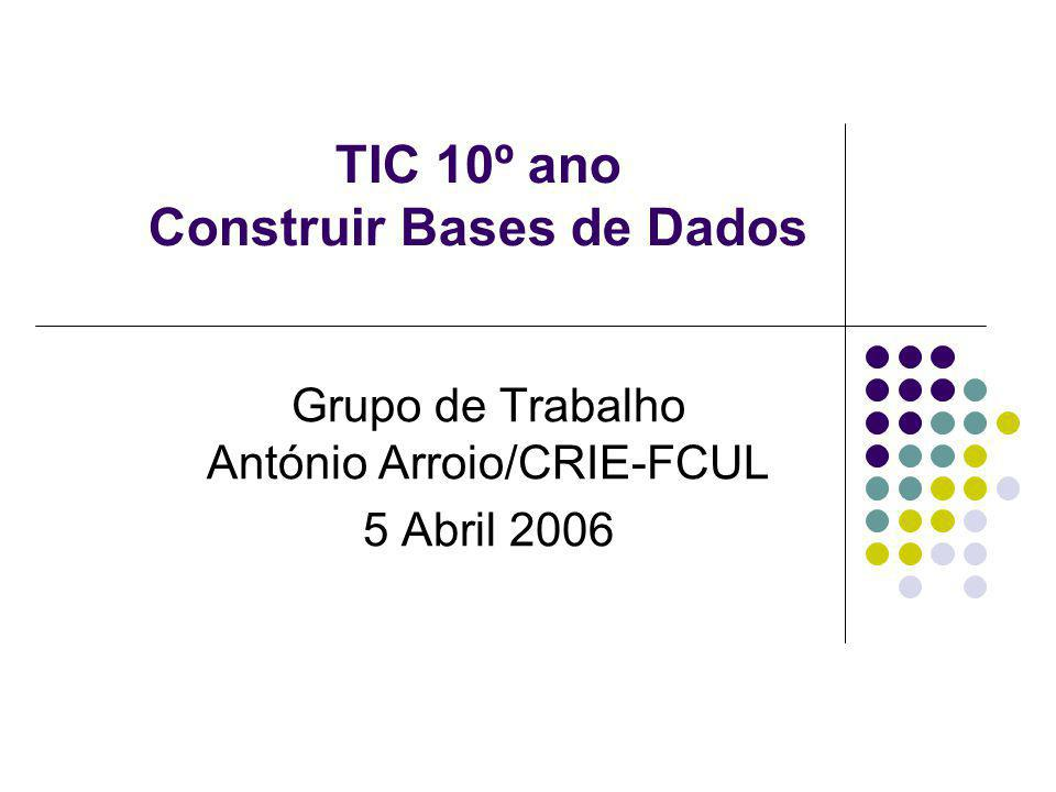 TIC 10º ano Construir Bases de Dados