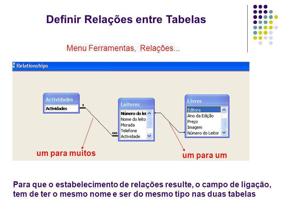 Definir Relações entre Tabelas