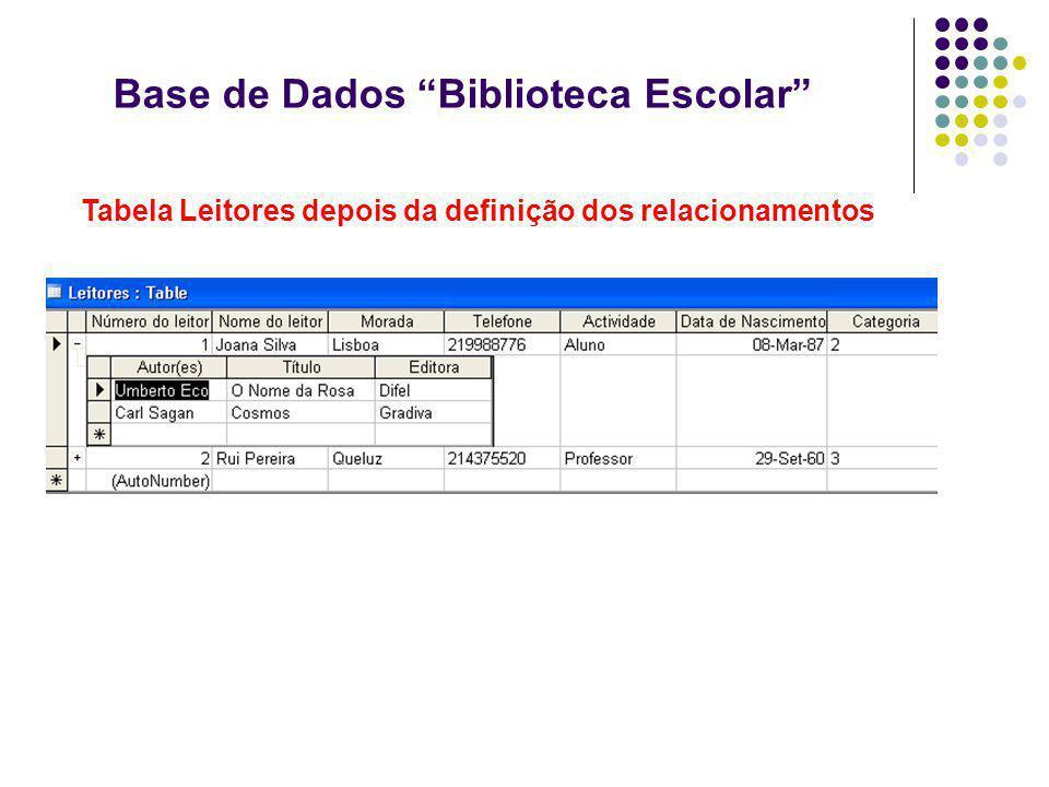 Base de Dados Biblioteca Escolar