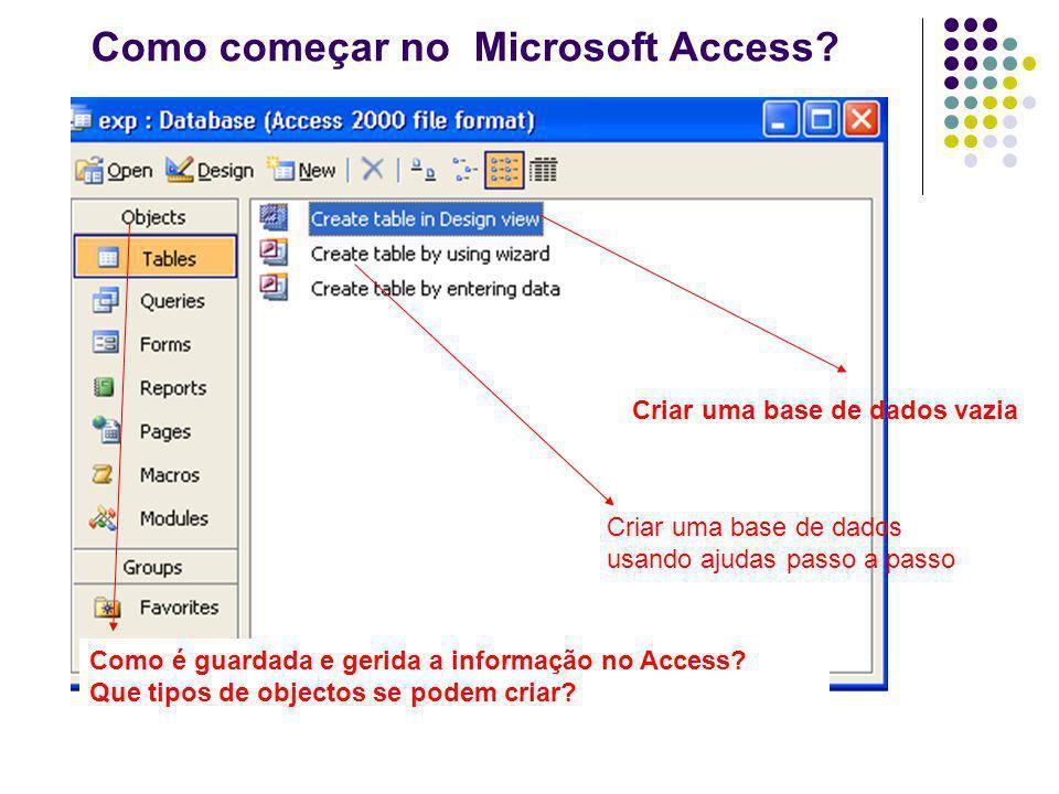 Como começar no Microsoft Access