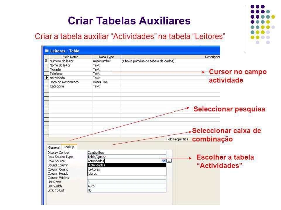Criar Tabelas Auxiliares