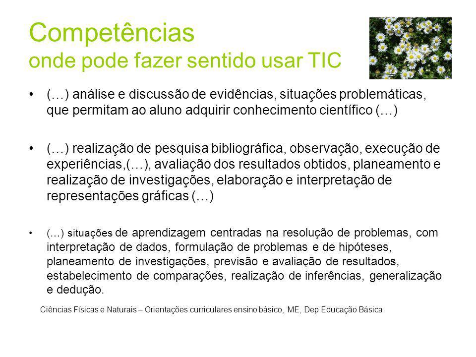 Competências onde pode fazer sentido usar TIC