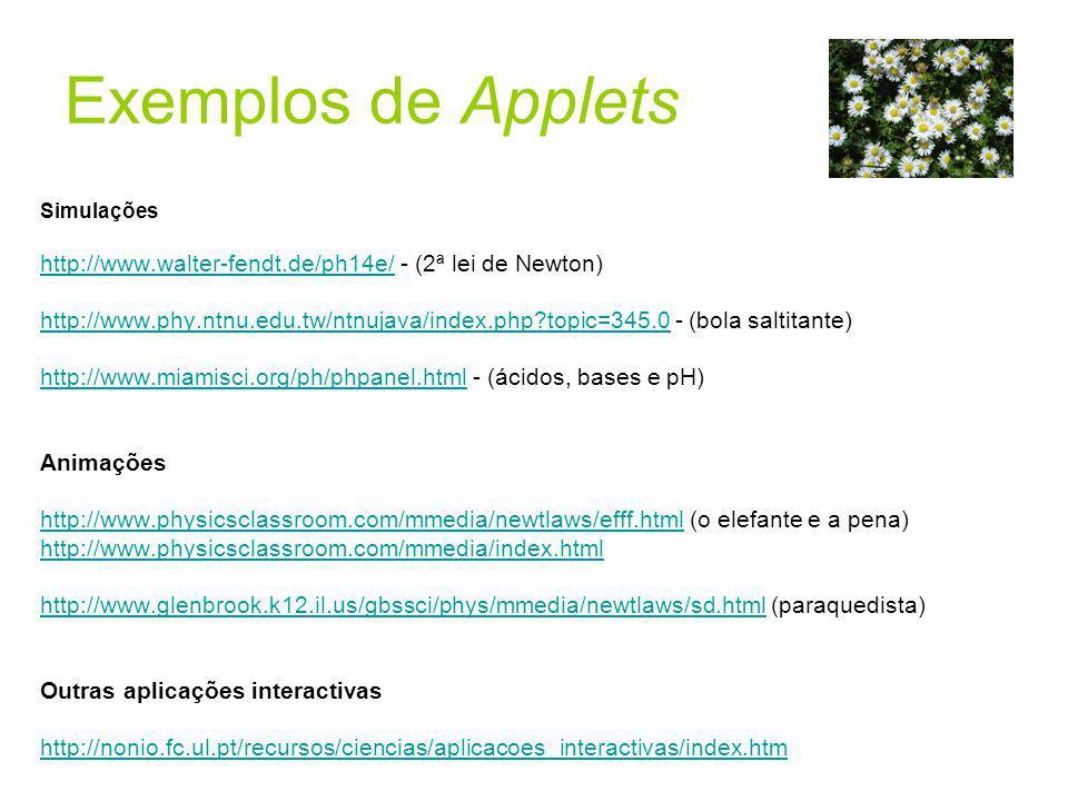 Exemplos de Applets Simulações. http://www.walter-fendt.de/ph14e/ - (2ª lei de Newton)