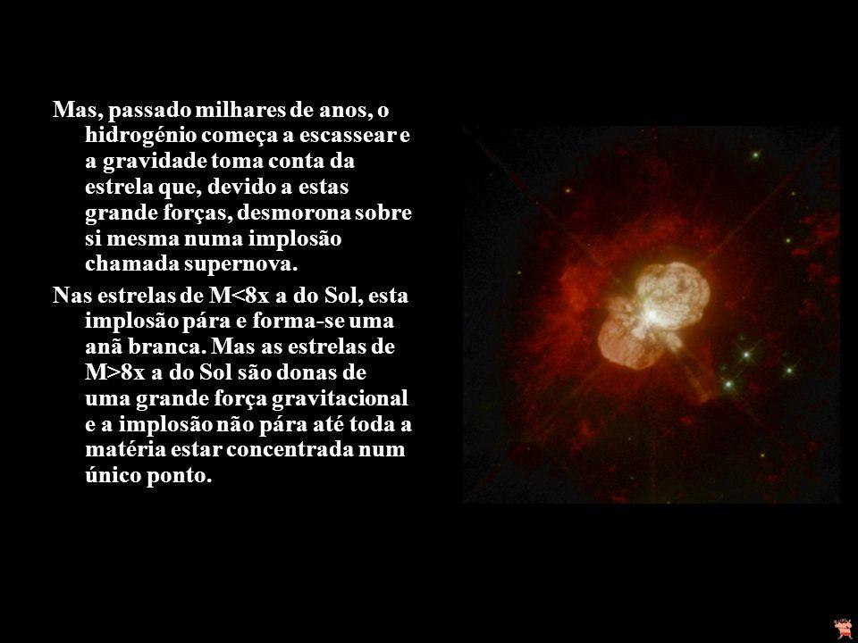 Mas, passado milhares de anos, o hidrogénio começa a escassear e a gravidade toma conta da estrela que, devido a estas grande forças, desmorona sobre si mesma numa implosão chamada supernova.