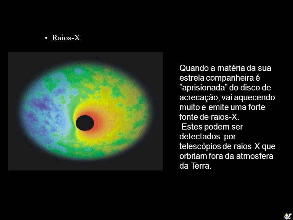 Raios-X. Quando a matéria da sua estrela companheira é aprisionada do disco de acrecação, vai aquecendo muito e emite uma forte fonte de raios-X.
