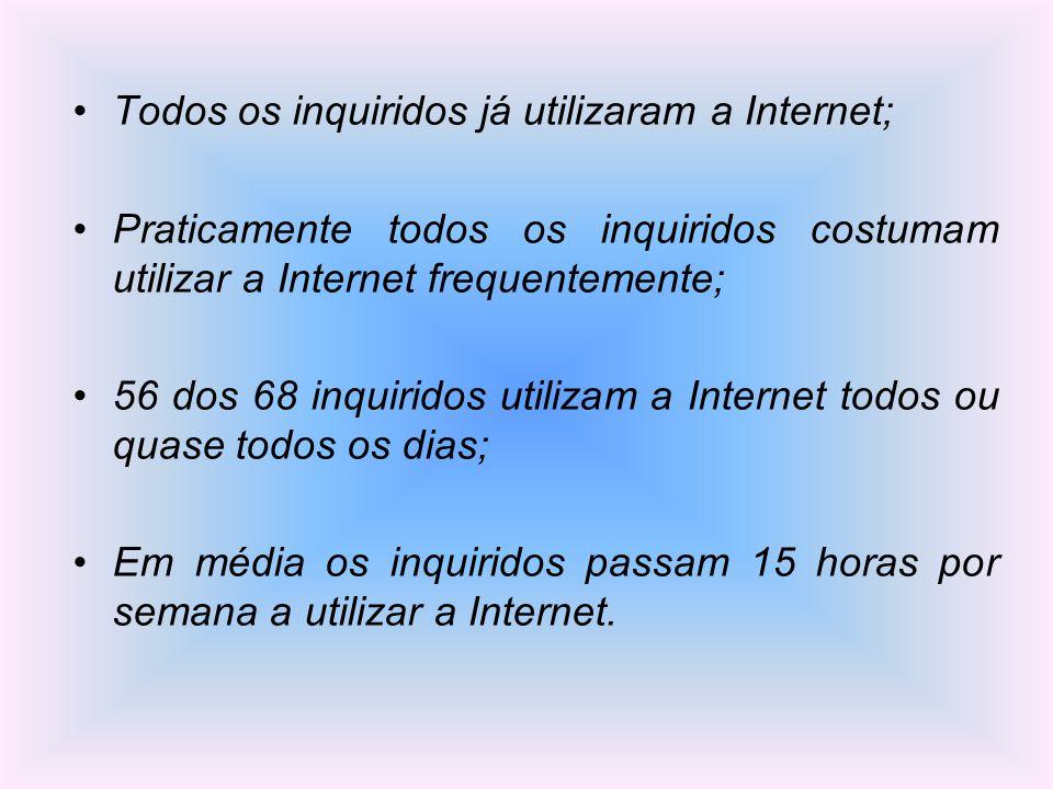 Todos os inquiridos já utilizaram a Internet;