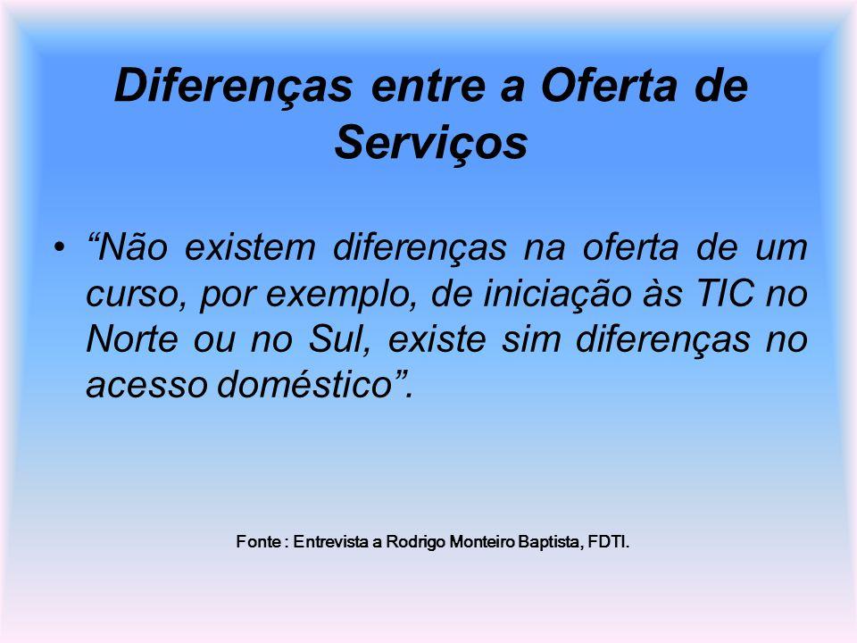 Diferenças entre a Oferta de Serviços