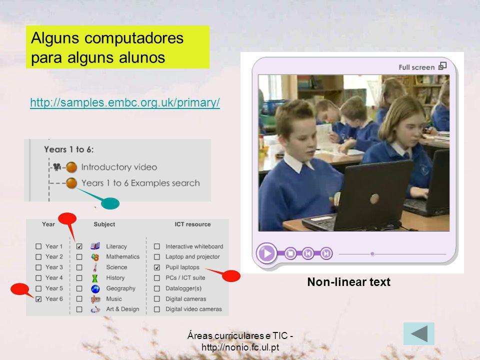 Áreas curriculares e TIC - http://nonio.fc.ul.pt