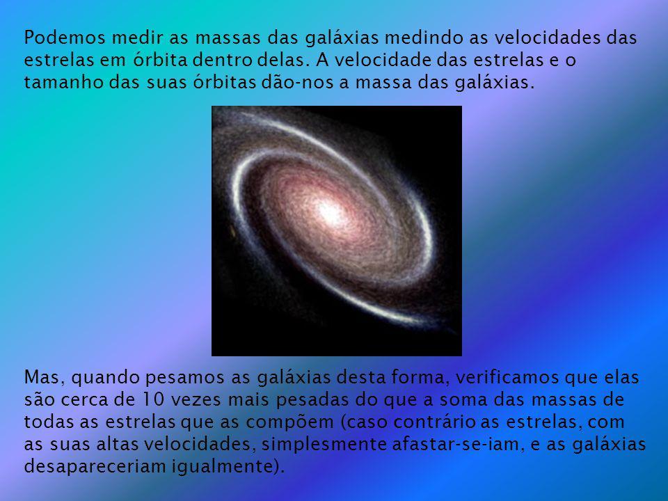 Podemos medir as massas das galáxias medindo as velocidades das estrelas em órbita dentro delas. A velocidade das estrelas e o tamanho das suas órbitas dão-nos a massa das galáxias.