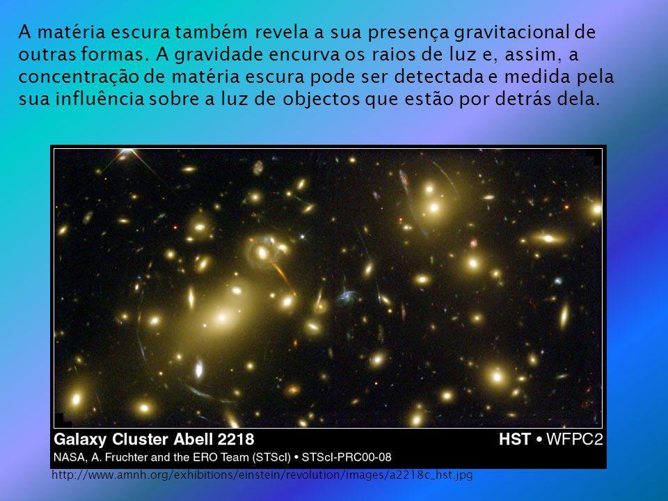 A matéria escura também revela a sua presença gravitacional de outras formas. A gravidade encurva os raios de luz e, assim, a concentração de matéria escura pode ser detectada e medida pela sua influência sobre a luz de objectos que estão por detrás dela.