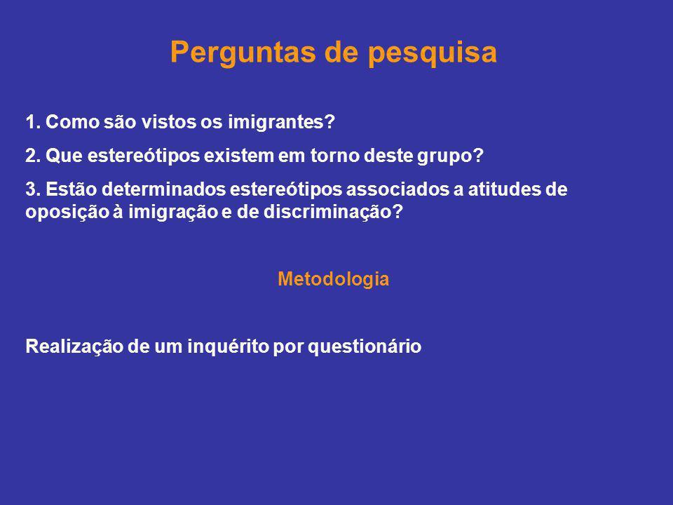 Perguntas de pesquisa 1. Como são vistos os imigrantes