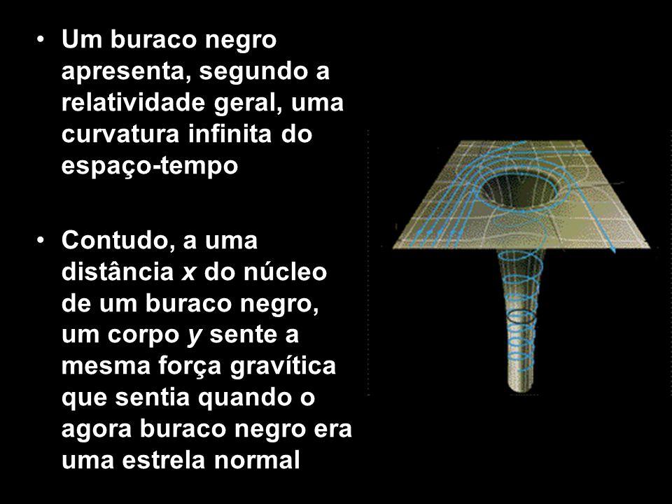 Um buraco negro apresenta, segundo a relatividade geral, uma curvatura infinita do espaço-tempo