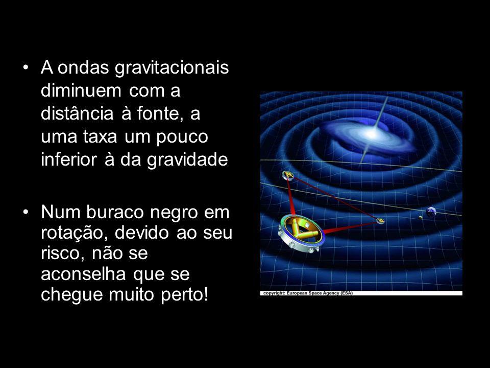 A ondas gravitacionais diminuem com a distância à fonte, a uma taxa um pouco inferior à da gravidade