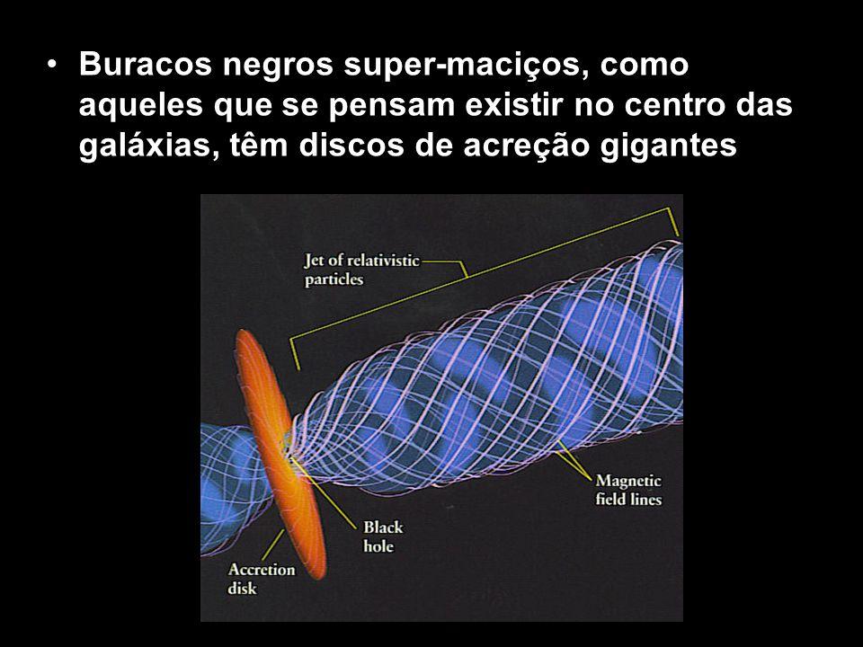 Buracos negros super-maciços, como aqueles que se pensam existir no centro das galáxias, têm discos de acreção gigantes