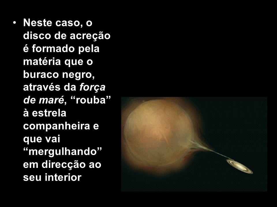 Neste caso, o disco de acreção é formado pela matéria que o buraco negro, através da força de maré, rouba à estrela companheira e que vai mergulhando em direcção ao seu interior