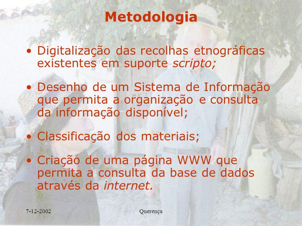 Metodologia Digitalização das recolhas etnográficas existentes em suporte scripto;