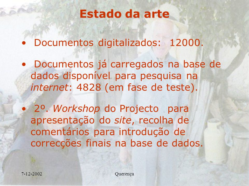 Estado da arte Documentos digitalizados: 12000.