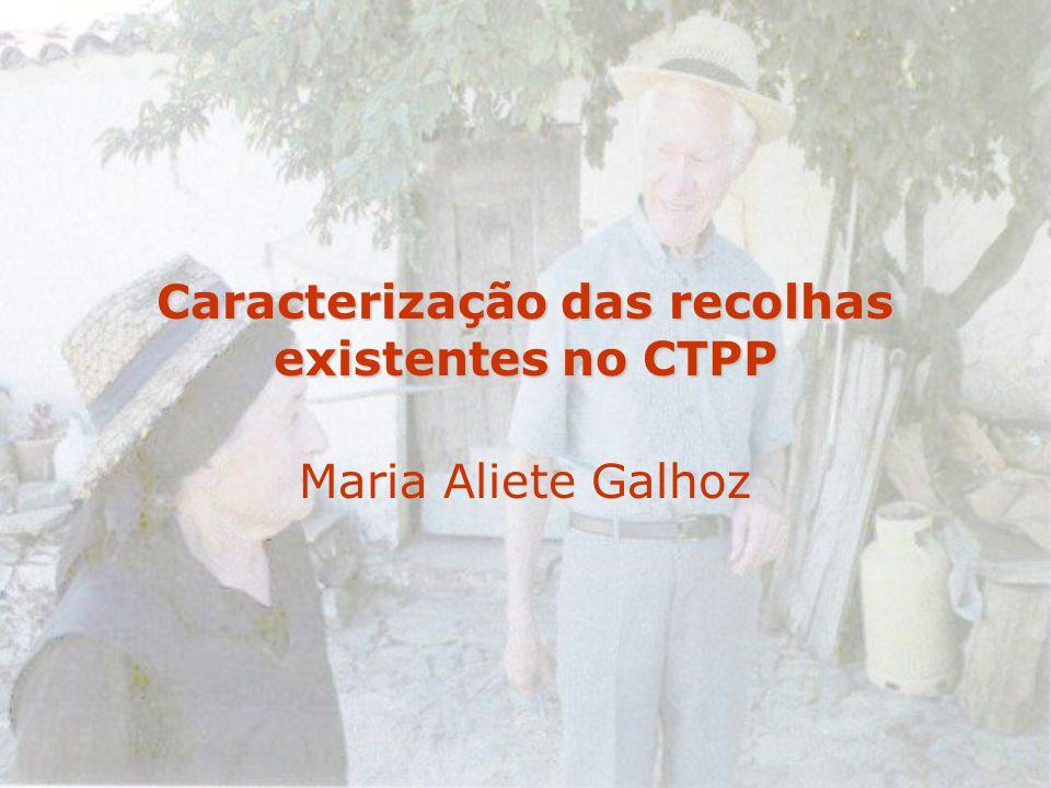 Caracterização das recolhas existentes no CTPP