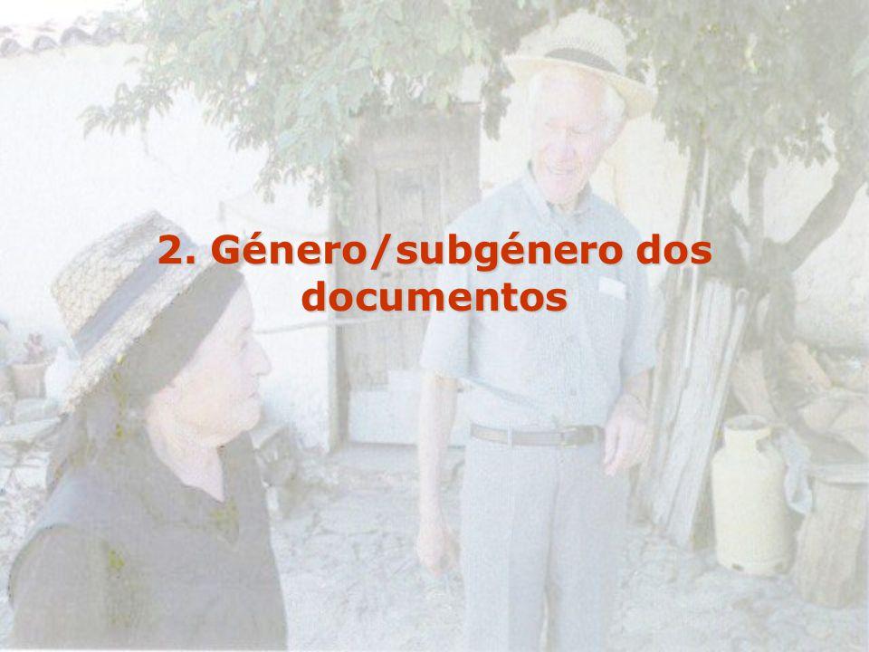 2. Género/subgénero dos documentos