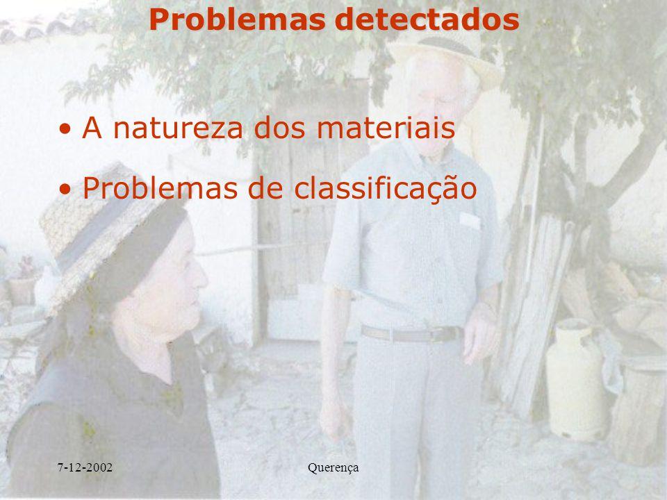 A natureza dos materiais Problemas de classificação