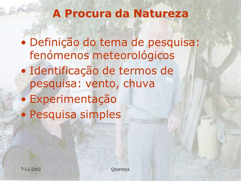 Definição do tema de pesquisa: fenómenos meteorológicos