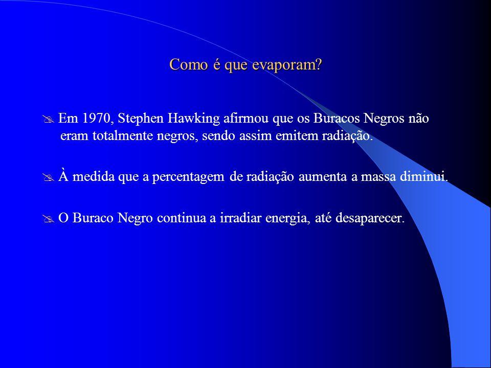 Como é que evaporam  Em 1970, Stephen Hawking afirmou que os Buracos Negros não eram totalmente negros, sendo assim emitem radiação.