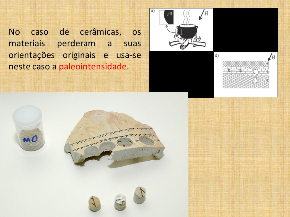 No caso de cerâmicas, os materiais perderam a suas orientações originais e usa-se neste caso a paleointensidade.