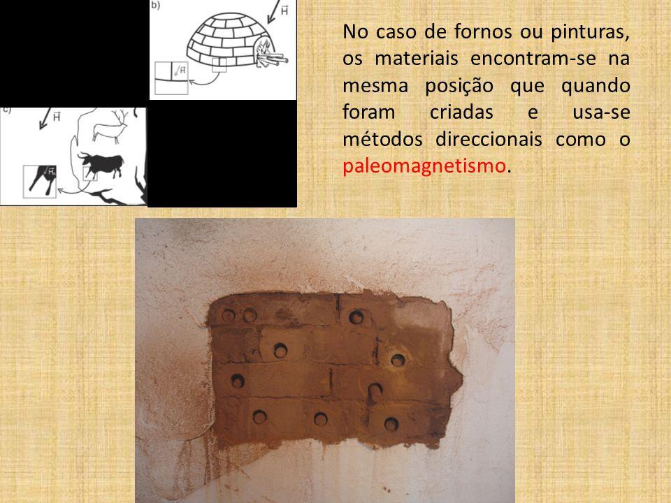 No caso de fornos ou pinturas, os materiais encontram-se na mesma posição que quando foram criadas e usa-se métodos direccionais como o paleomagnetismo.