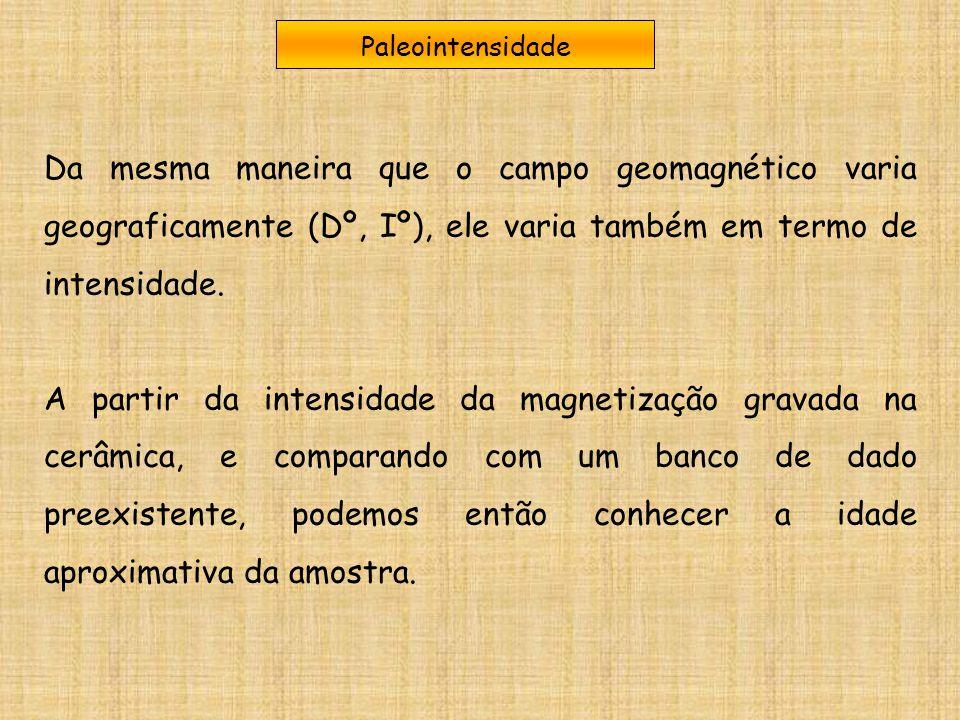 Paleointensidade Da mesma maneira que o campo geomagnético varia geograficamente (Dº, Iº), ele varia também em termo de intensidade.