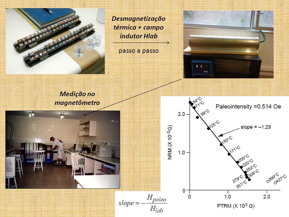Desmagnetização térmica + campo indutor Hlab
