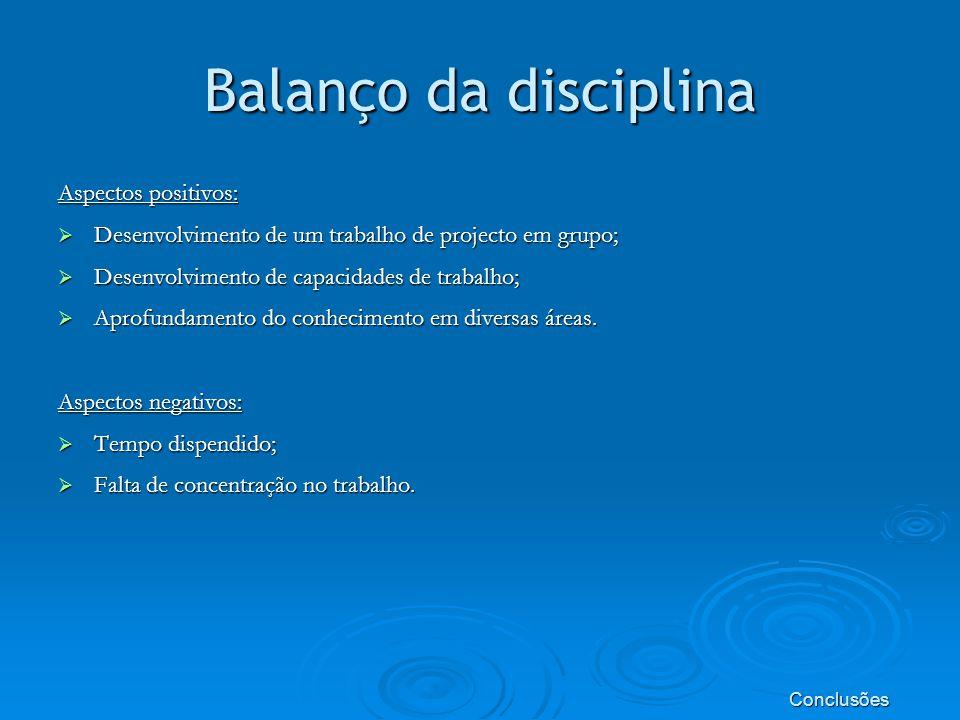 Balanço da disciplina Aspectos positivos: