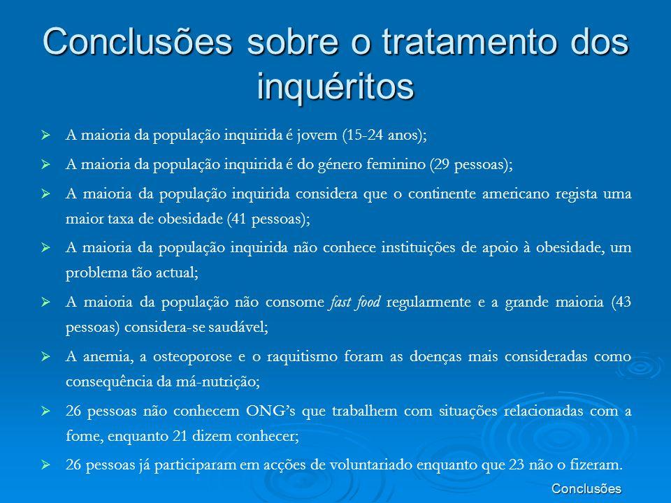 Conclusões sobre o tratamento dos inquéritos