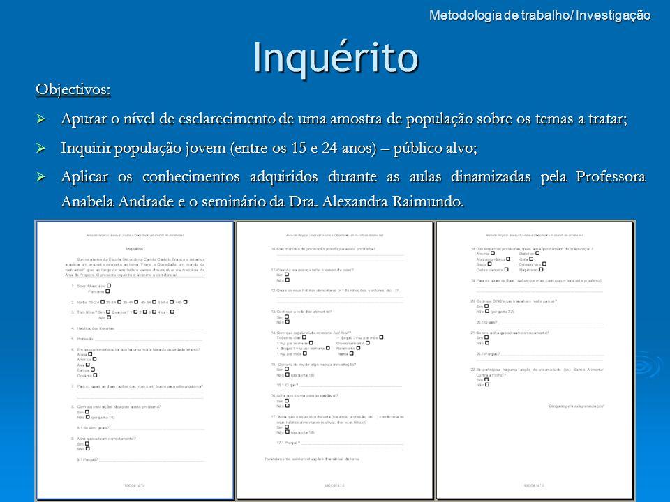 Metodologia de trabalho/ Investigação