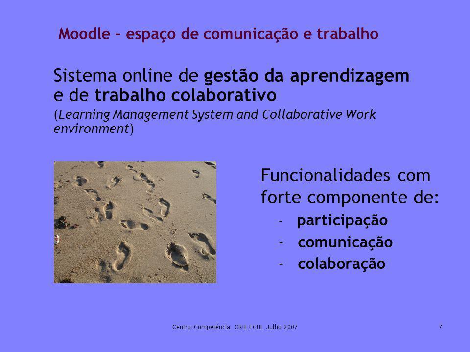 Moodle – espaço de comunicação e trabalho