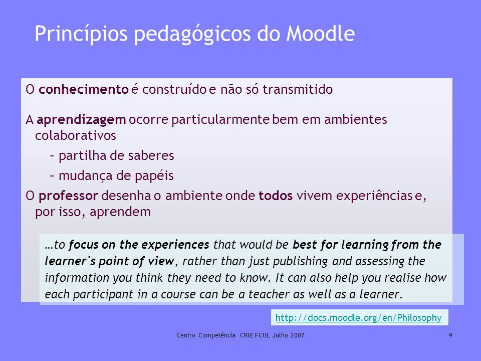 Princípios pedagógicos do Moodle