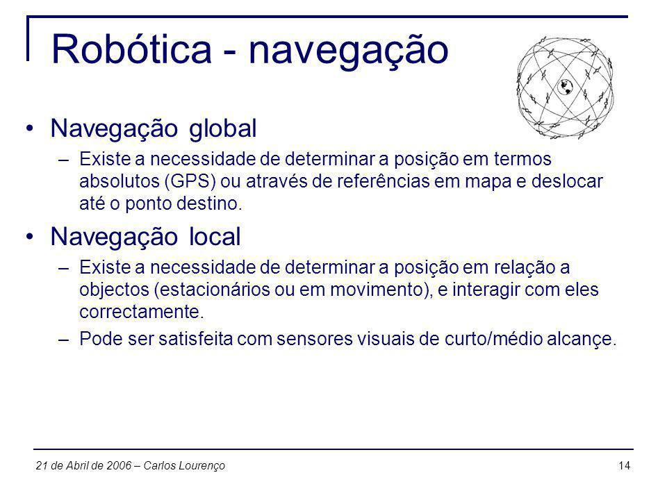 Robótica - navegação Navegação global Navegação local
