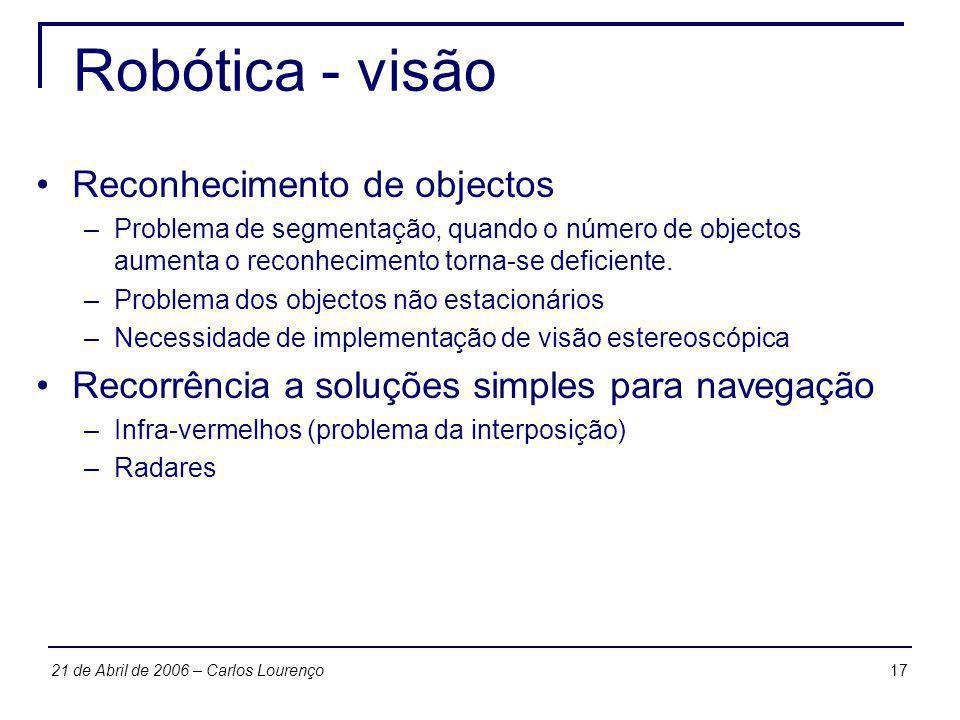 Robótica - visão Reconhecimento de objectos