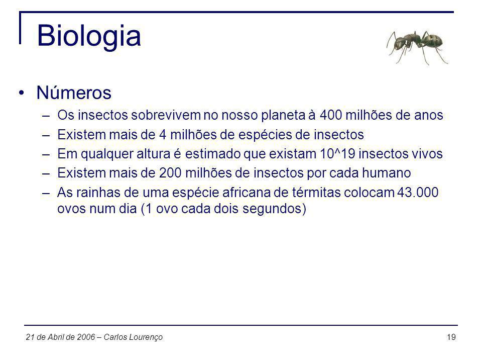 Biologia Números. Os insectos sobrevivem no nosso planeta à 400 milhões de anos. Existem mais de 4 milhões de espécies de insectos.