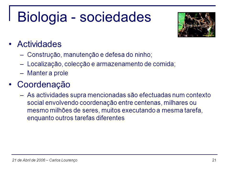 Biologia - sociedades Actividades Coordenação