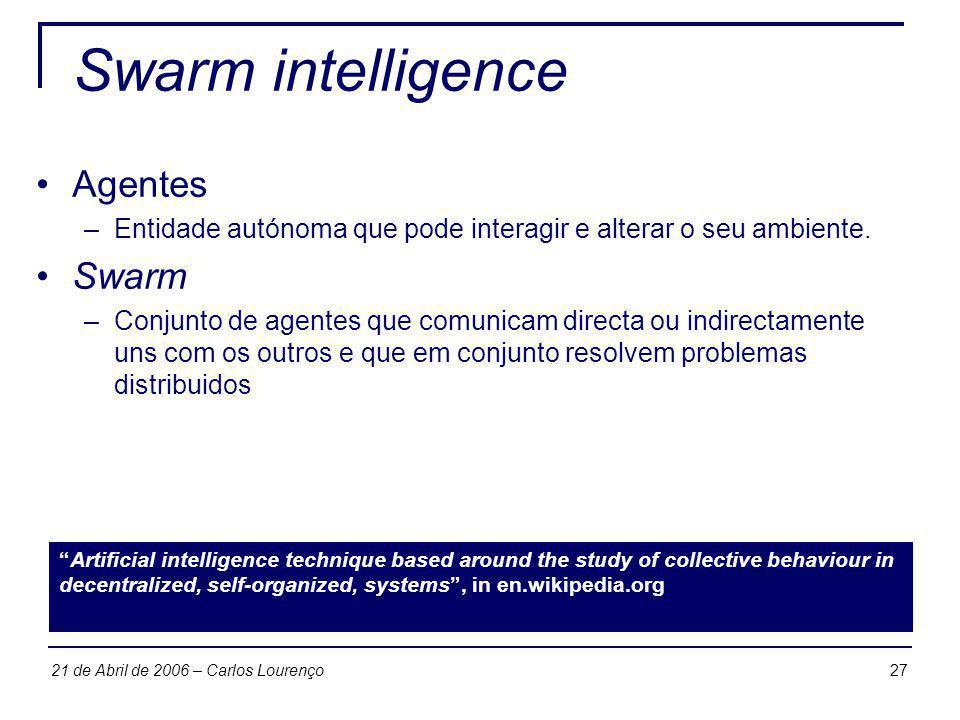 Swarm intelligence Agentes Swarm