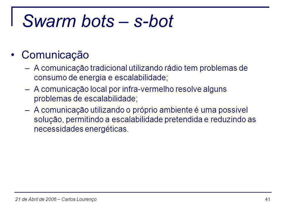 Swarm bots – s-bot Comunicação