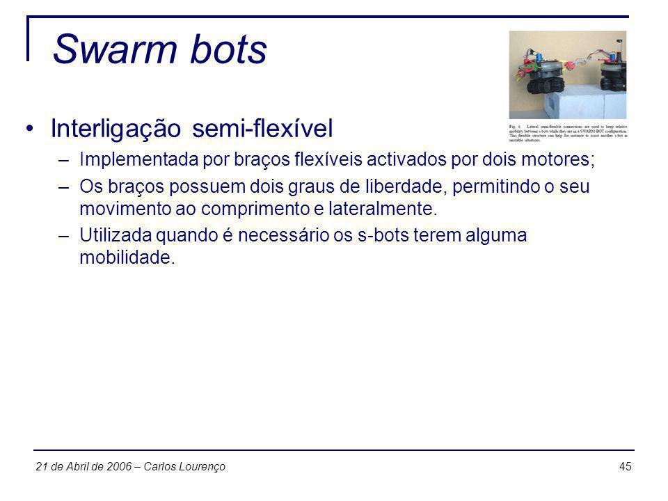 Swarm bots Interligação semi-flexível
