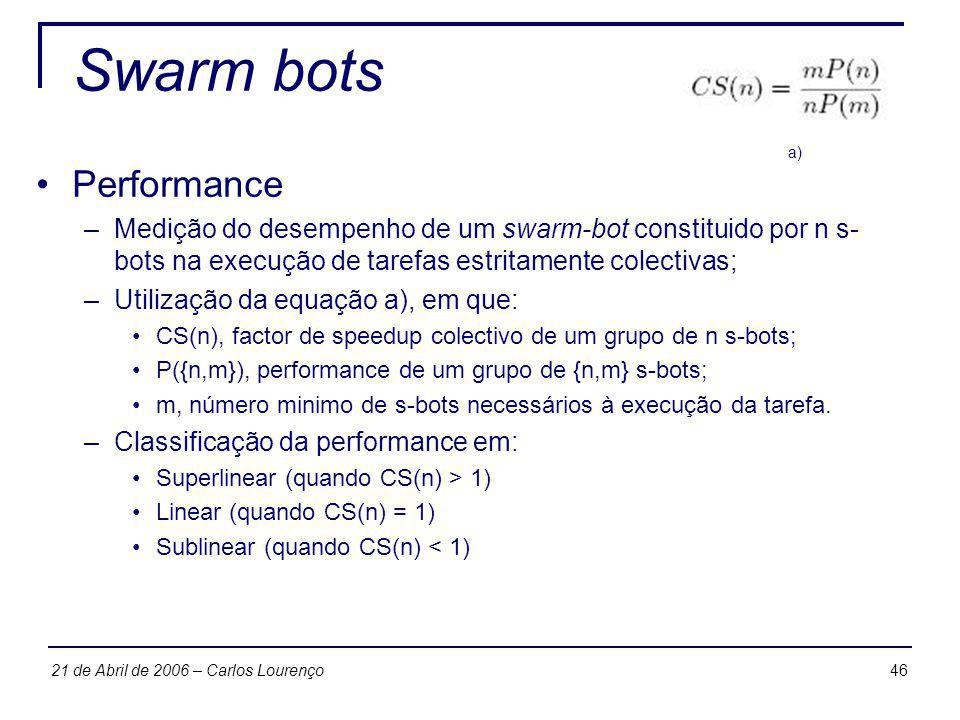 Swarm bots Performance