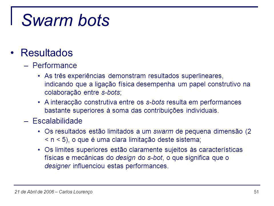Swarm bots Resultados Performance Escalabilidade