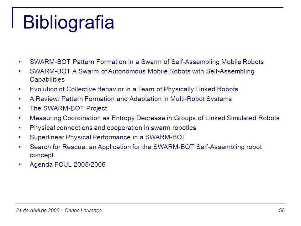 Bibliografia SWARM-BOT Pattern Formation in a Swarm of Self-Assembling Mobile Robots.