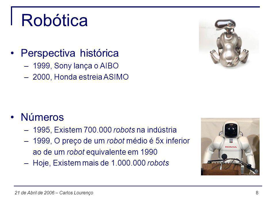 Robótica Perspectiva histórica Números 1999, Sony lança o AIBO
