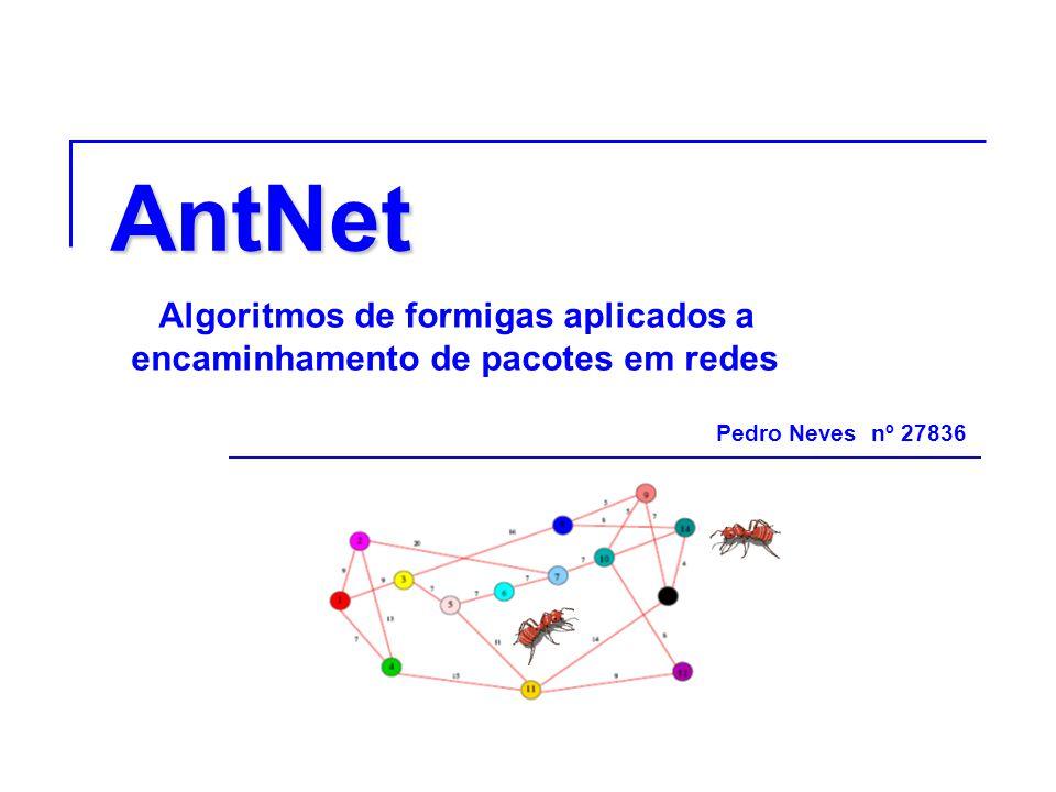 AntNet Algoritmos de formigas aplicados a encaminhamento de pacotes em redes Pedro Neves nº 27836