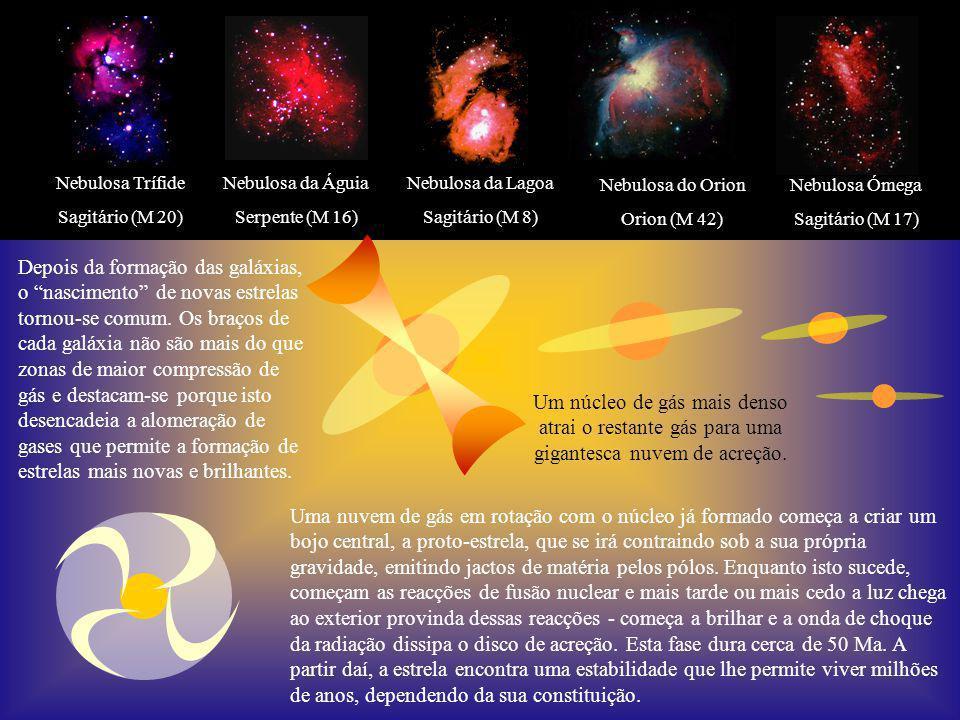 Nebulosa Ómega Sagitário (M 17) Nebulosa Trífide. Sagitário (M 20) Nebulosa da Águia. Serpente (M 16)